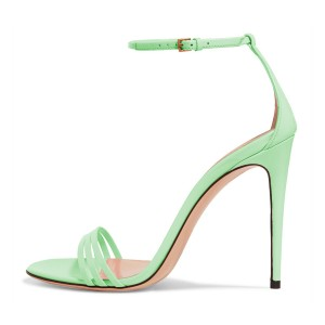 FSJ Lime Ankle Strap Sandals Open Toe Stiletto Heel Office Shoes
