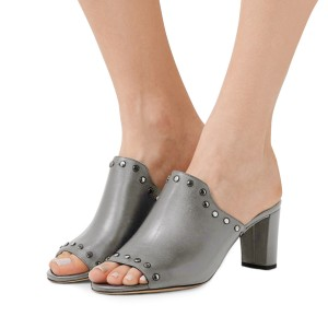 Women's Grey Open Toe with Metal Mule chunky Heel Sandals