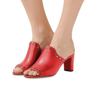 Women's Red Open Toe with Metal Mule chunky Heel Sandals