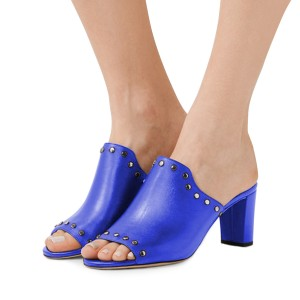 Women's Blue Open Toe with Metal Mule chunky Heel Sandals