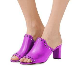 Women's Plum Open Toe with Metal Mule chunky Heel Sandals