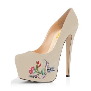 Women's Beige Red Embroidery Platform Heels Stiletto Pumps