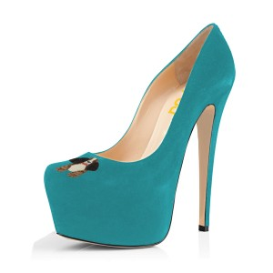 Teal Shoes Suede Chunky Heel Platform Pumps by FSJ