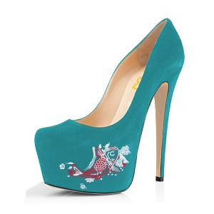 Teal Shoes Carp Print Suede Chunky Heel Platform Pumps by FSJ