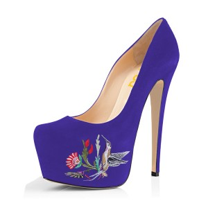 Women's Purple Embroidery Platform Heels Stiletto Pumps