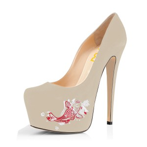 Women's Beige Suede Fish Printed Platform Heels Stiletto Pumps