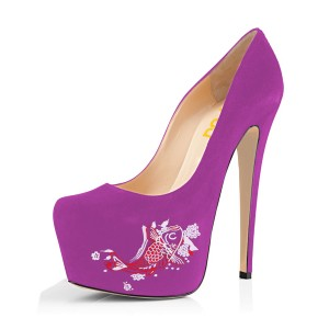 Women's Orchid Suede Fish Printed Platform Heels Stiletto Pumps