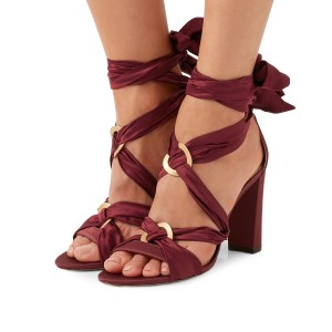 Burgundy Heels Satin Open Toe Chunky Heel Strappy Sandals by FSJ