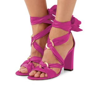 Women's Plum Bow Chunky Heel Strappy Sandals