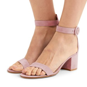 Women's Blush Suede Chunky Heel Ankle Strap Sandals