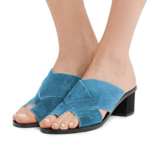 Women's Blue Suede Mule Chunky Heel Sandals
