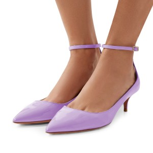 Women's Purple Kitten Heels Pointed Toe Ankle Strap Heels Pumps