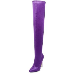Purple Long Boots Stiletto Heel Thigh-high Boots