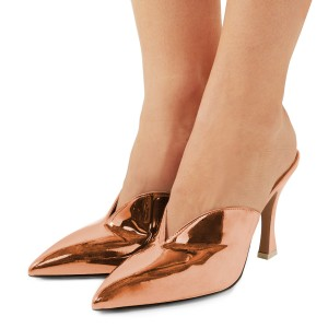 Women's Orange Pointy Toe Glazed Leather Kitten Heels Pumps