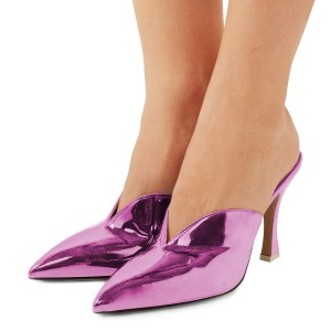 Women's Purple Pointy Toe Glazed Leather Mule Kitten Heels Pumps