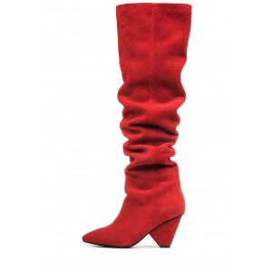 Red Suede Slouch Boots Pointy Toe Chunky Heels Knee-high Boots