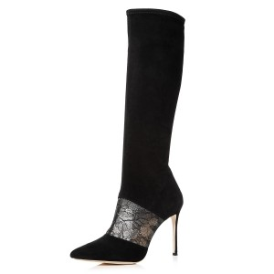 Black Suede Lace Floral Stiletto Boots Mid-Calf Boots