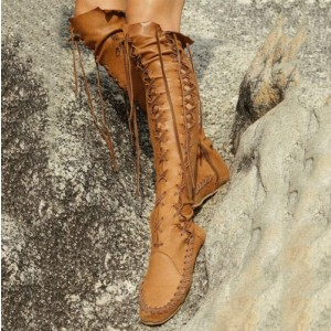 Tan Boots Round Toe Comfy Lace up Fashion Flat Knee Boots
