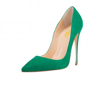 Green Pointy Toe Stiletto Heels Dress Shoes Suede Commuting Pumps