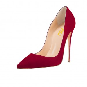 Red 5 Inches Stiletto Heels Pointy Toe Suede Pumps by FSJ