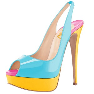 Light Blue Slingback Pumps Patent Leather Peep Toe Platform High Heels Shoes