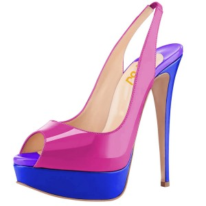 Magenta and Royal Blue Slingback Heels Peep Toe Platform Pumps