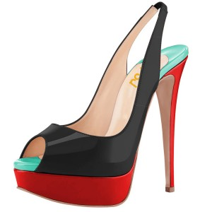 Black and Red High Heels Shoes Women's Slingback Pumps