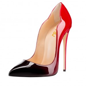Red and Black Gradient Stiletto heels Pointed Toe Pumps