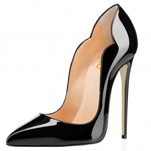 Black Dress Shoes Formal Stiletto Heel Patent Leather Office Heels