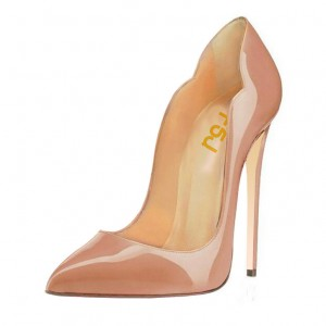 Blush Heels 5 Inches Stiletto Heels Pumps Patent Leather Office Heels