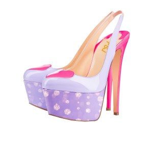 Light Purple Heart Slingback Pumps Patent Leather Platform High Heels