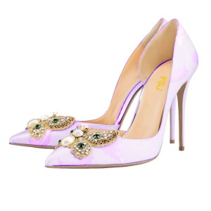 Women's Orchid Rhinestone Stiletto Heel Pumps Pointed Toe Wedding Shoes