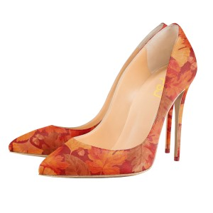 Women's Orange Leaves Printed Pointed Toe Dress Shoes