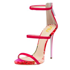 Red Stiletto Heels Dress Shoes Open Toe Sexy Flower Sandals by FSJ