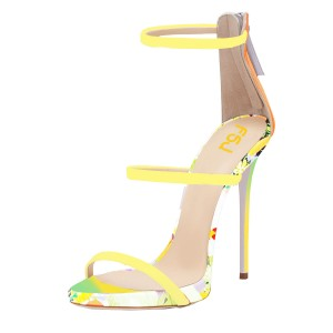 Yellow 5 Inches Heels Floral Open Toe Stiletto Heels Sandals by FSJ