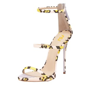 Leopard Print Heels Open Toe Three Straps Stiletto Heel Dressy Sandals