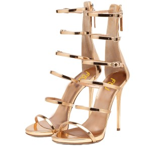 Gold Metallic Heels Open Toe Stiletto Heel Multi-strap Sandals by FSJ
