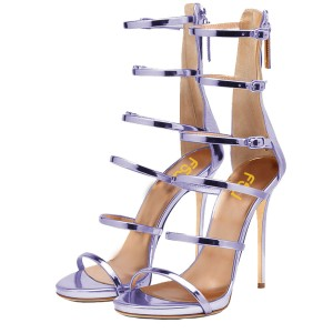 Orchid 5 Inch Heels Open Toe Mirror Leather Stiletto Heel Sandals
