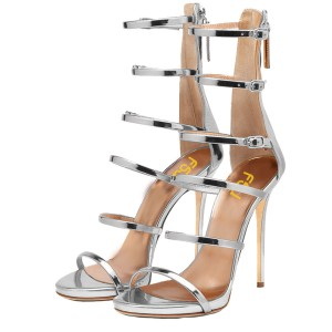 Silver 4 Inch Heels Open Toe Patent Leather Stiletto Heels Sandals
