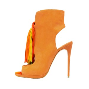 Women's Daisy Yellow Colorful Tassels Ankle Boots Slingback Heels