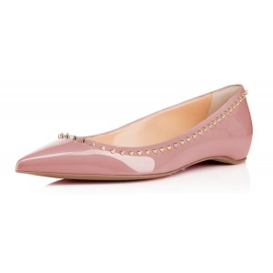 Women's Nude Pointed Toe with Rivets Comfortable Flats