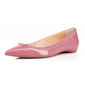Women's Chloe Pink Rivets Pointy Toe Flats