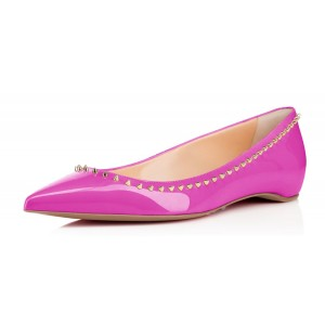 Women's Violet Rivet Pointed Toe Comfortable Flats