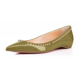 Green Patent Leather Dressy Pointy Toe Flats with Gold Rivets