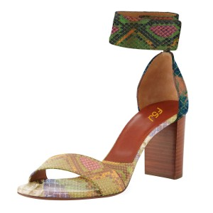 Multi Color Cobra Ankle Strap Sandals