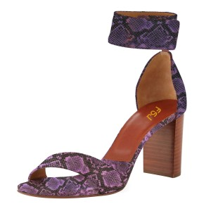Viola Purple Cobra Ankle Strap Sandals