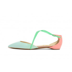 Cyan and Pink Pointy Toe Flats Cute Sandals