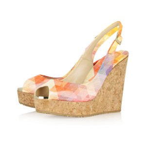 Women's Pink Diamond Lattice Printed Slingback Wedge Heels Sandals