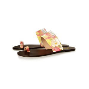 Women's Floral Summer Sandals Comfortable Flat Flip Flops for Female