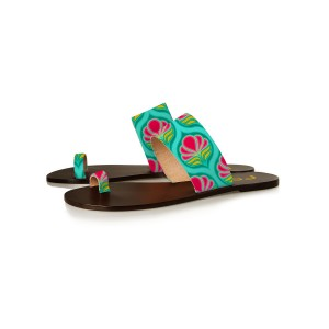 FSJ Green Floral Toe Loop Sandals Summer Flat Sandals US Size 3-15